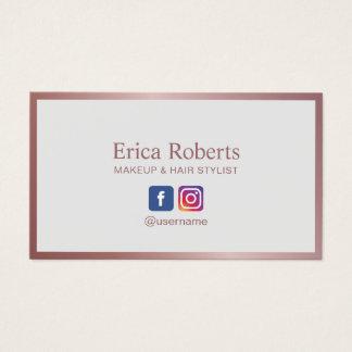 Makeup Artist Hair Stylist Rose Gold Social Media Business Card