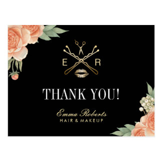 Makeup Artist Hair Stylist Salon Floral Thank You Postcard