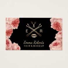 Makeup Artist & Hair Stylist Salon Vintage Floral Business Card at Zazzle