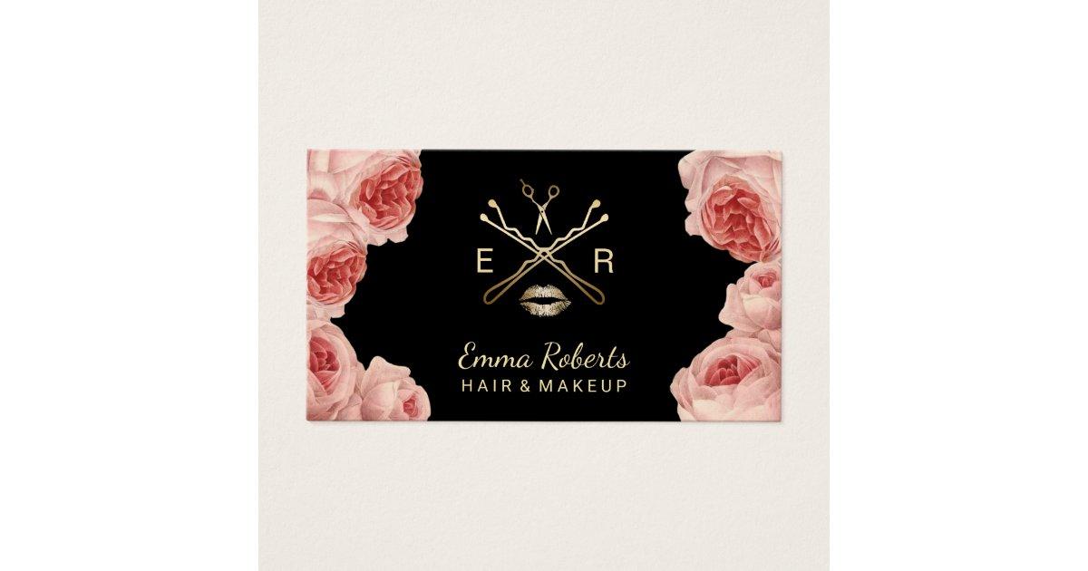 Makeup Artist & Hair Stylist Salon Vintage Floral Business Card ...