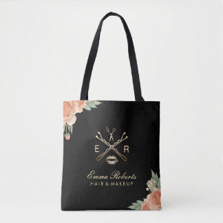 Makeup Artist & Hair Stylist Vintage Floral Black Tote Bag
