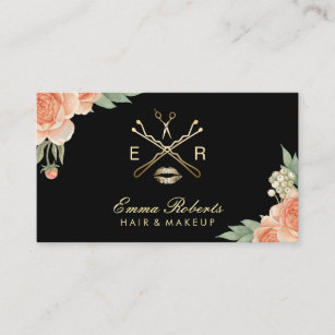 Makeup artist business cards zazzle makeup artist hair stylist vintage floral elegant business card colourmoves