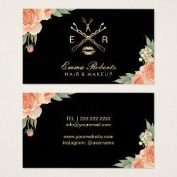 Vintage floral business cards retro invites makeup artist hair stylist vintage floral elegant business card reheart Choice Image