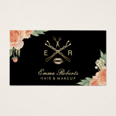 Makeup Artist Hair Stylist Vintage Floral Elegant Business Card at Zazzle