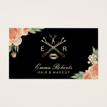 cardfactory Makeup Artist Hair Stylist Vintage Floral Elegant Business Card