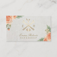 Makeup Artist Hair Stylist Vintage Floral Linen Business Card