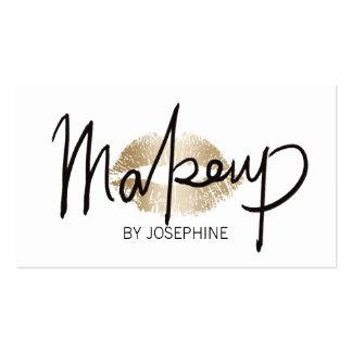 Makeup Artist Hand Lettering Gold Kiss Minimalist Business Card