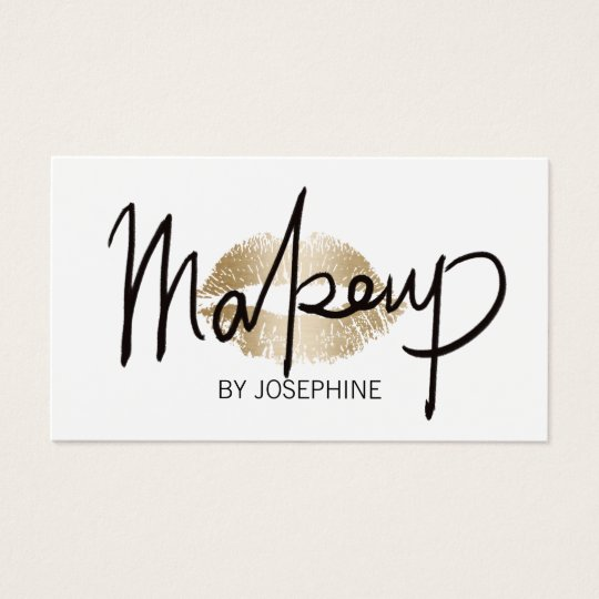 Makeup artist hand lettering gold kiss minimalist business card makeup artist hand lettering gold kiss minimalist business card reheart Gallery