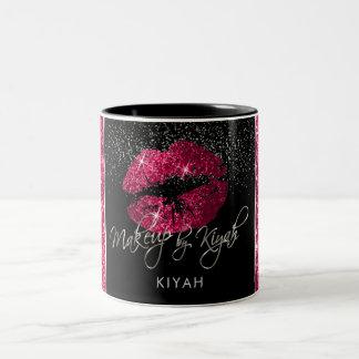 Makeup Artist Hot Pink Glitter Lips Two-Tone Coffee Mug