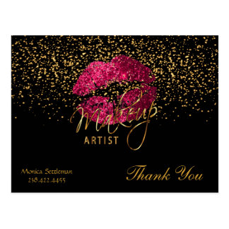 Makeup Artist  Hot Pink Lips on Black Postcard