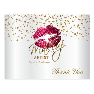 Makeup Artist  Hot Pink Lips on White Postcard