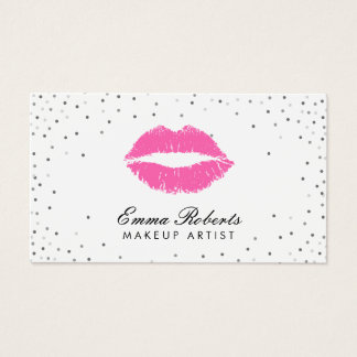 Makeup Artist Hot Pink Lips Silver Confetti Business Card