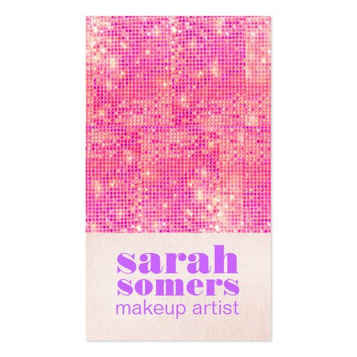 Makeup Artist Hot Pink Sparkly Sequins Girly Business Card Template