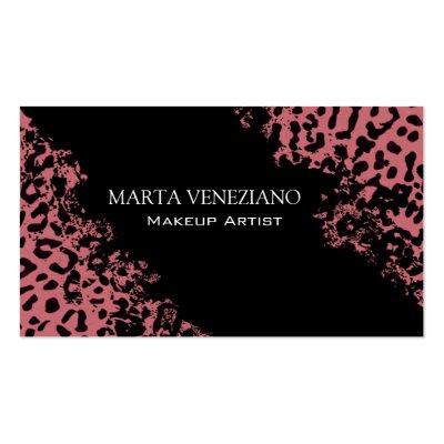Makeup Artist III Professional Cosmetology Leopard Business Card Template