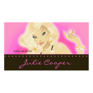 Makeup Artist Jewelry Pretty Blonde Woman Hot Pink Business Card