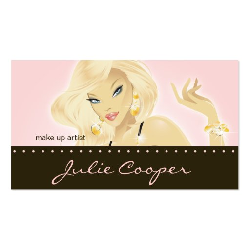 Makeup Artist  Jewelry Pretty Blonde Woman Pink Business Card Templates