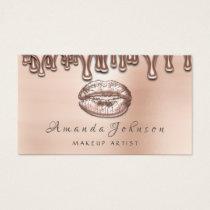 Makeup Artist Kiss Lips Blush Rose Gold Dripping Business Card