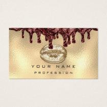 Makeup Artist Kiss Lips Glitter Gold Dripping Business Card