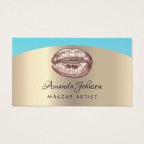 Makeup Artist Kiss Lips Glitter Pink Gold Blue Business Card