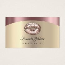 Makeup Artist Kiss Lips Glitter Pink Gold Blush Business Card