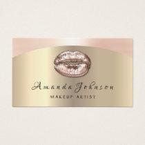 Makeup Artist Kiss Lips Glitter Rose Gold Blush Business Card