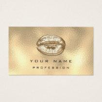 Makeup Artist Kiss Lips Glitter Sepia Gold Glam Business Card