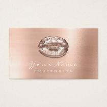 Makeup Artist Kiss Lips Metallic Rose Gold Business Card
