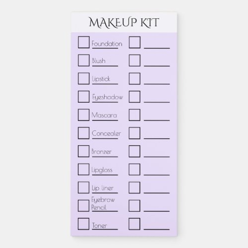 Makeup artist kit checklist  CUSTOMIZE 3 Magnetic Notepad