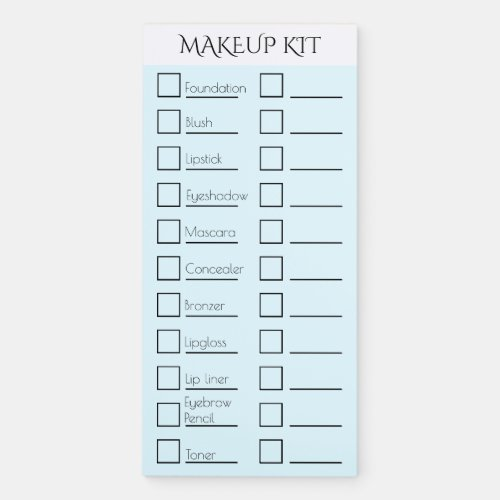 Makeup artist kit checklist  CUSTOMIZE blue Magnetic Notepad