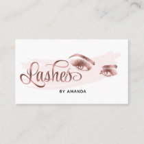 Makeup artist Lash Eyebrow Eyes Lashes Rose Gold Business Card