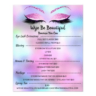 Makeup Artist Lash Glitter Price List Blue Pink4 Flyer
