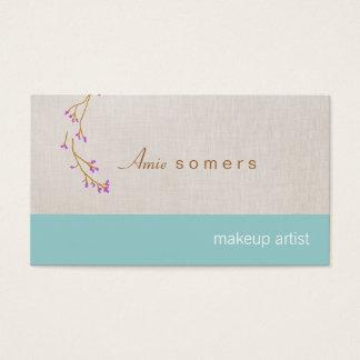 Makeup Artist Linen Look Delicate Budding Branch Business Card