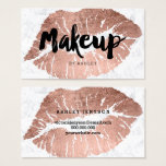 "Makeup artist lips rose gold typography marble business card<br><div class=""desc"">A modern,  stylish makeup artist business card with modern hand lettering style brush typography in black on a faux rose gold foil lips on a trendy and elegant white marble background. If you need any customization,  don&#39;t hesitate in contacting me</div>"