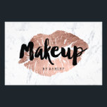 """Makeup artist lips rose gold typography marble flyer<br><div class=""""desc"""">A modern,  stylish makeup artist with modern hand lettering style brush typography in black on a faux rose gold foil lips on a trendy and elegant white marble background. If you need any customization,  don&#39;t hesitate in contacting me</div>"""