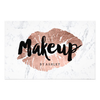 Makeup artist lips rose gold typography marble flyer