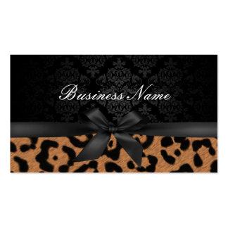 Makeup Artist Luxury Damask & Leopard Print Business Card