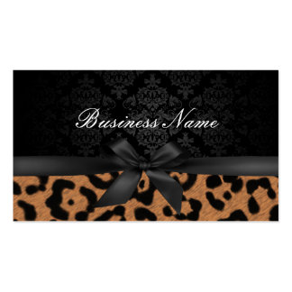 Makeup Artist Luxury Damask & Leopard Print Double-Sided Standard Business Cards (Pack Of 100)