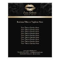 Makeup Artist Luxury Gold Lips Classy Black Floral Flyer
