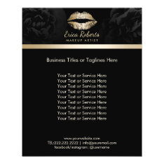 Makeup Artist Luxury Gold Lips Classy Black Floral Flyer at Zazzle