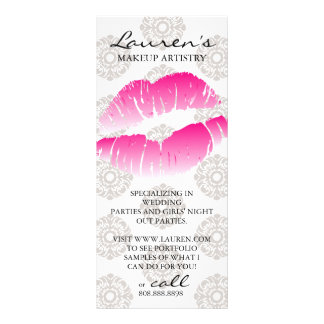Makeup Artist Marketing Cards Beauty Lips Pink