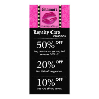 Makeup Artist Marketing Cards Lights Pink Lips