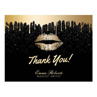 Makeup Artist Modern Black & Gold Salon Thank You Postcard