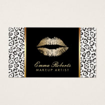 Makeup Artist Modern Black White Leopard Gold Lips Business Card