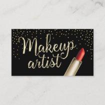 Makeup Artist Modern Gold Confetti Red Lipstick Business Card