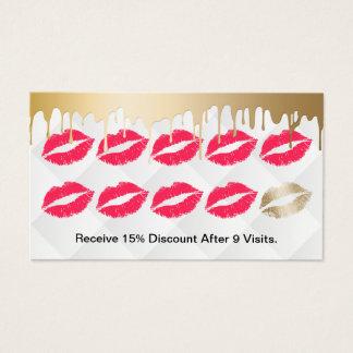 Makeup Artist Modern Gold Drips Red Lips Loyalty Business Card