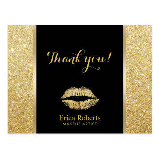 Makeup Artist Modern Gold Glitter Lips Thank You Postcard