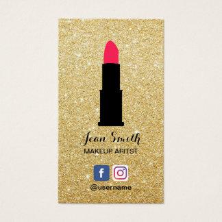 Makeup Artist Modern Gold Glitter Social Media Business Card