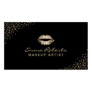 Makeup Artist Modern Gold Lips Confetti Dots Dark Business Card