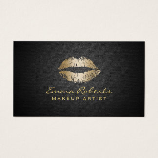 Makeup Artist Modern Gold Lips Elegant Black Business Card