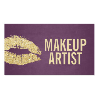Makeup Artist Modern Gold & Purple Double-Sided Standard Business Cards (Pack Of 100)
